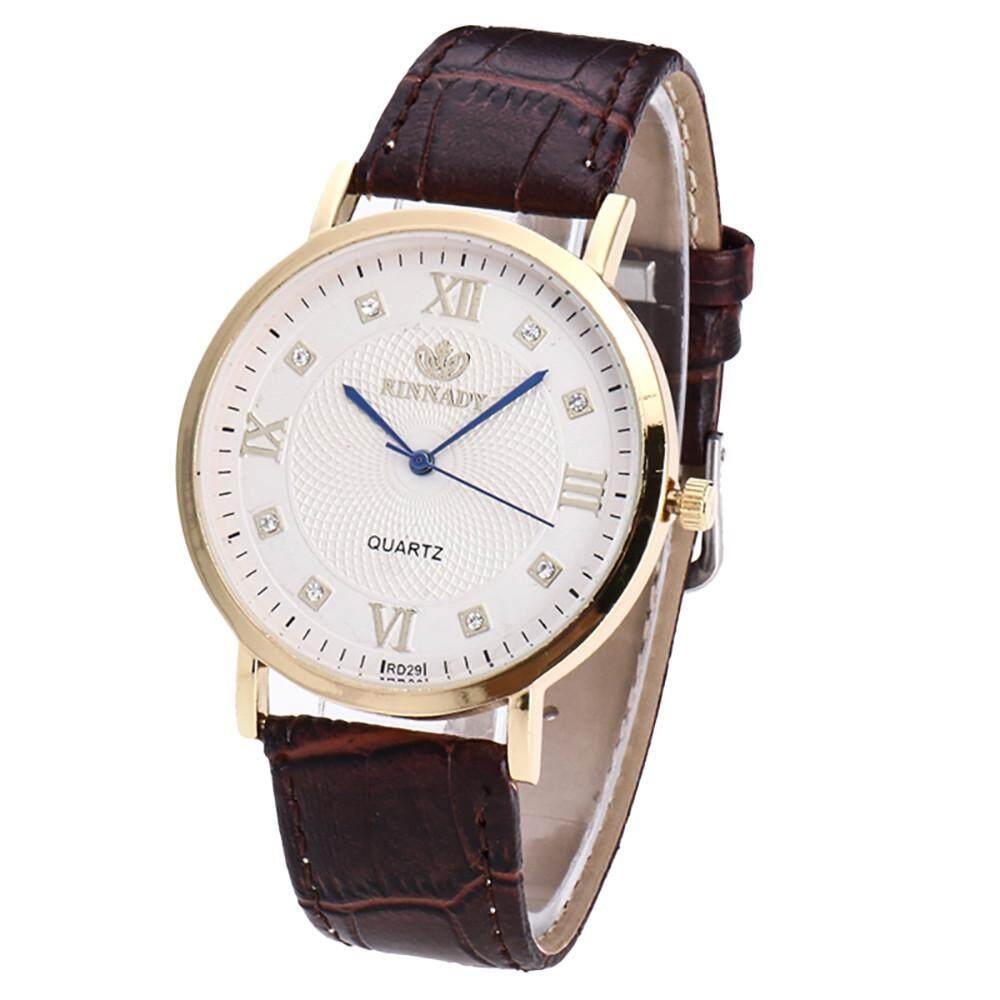 2018 Top New Women Men Fashion Leather Band Analog Quartz Round Wrist Watch Dropshipping Watches -