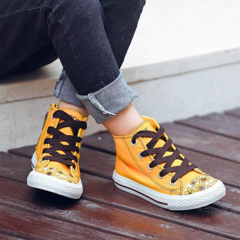 Lucu Cetar beruang Sepatu anak anak-anak Sepatu kanvas Pria dan wanita anak sepatu kain Musim Semi dan Musim Gugur model pasang Petpet Pergelangan Kaki Tinggi casual sepatu sneaker Sepatu bola