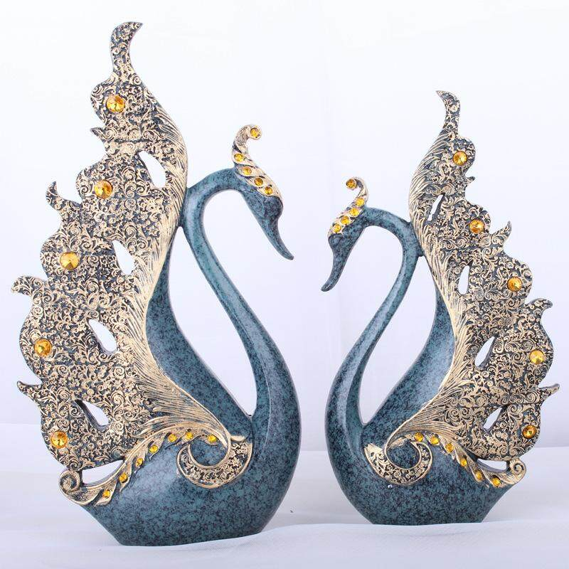 European lovers Blue Swan resin decoration, living room cabinets, home accessories, crafts, fast delivery quality. - intl