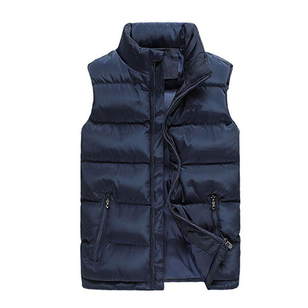 e094b9031a1fe Men s Winter Thick Stand Collar Solid Color Cotton Waistcoat Duck Down Jacket  Size M-Blue