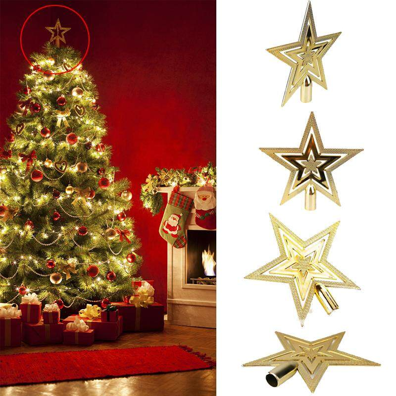 fb3f946786a3 Christmas Tree Golden Topper Star Shiny Home Office Xmas Festival Party  Decor