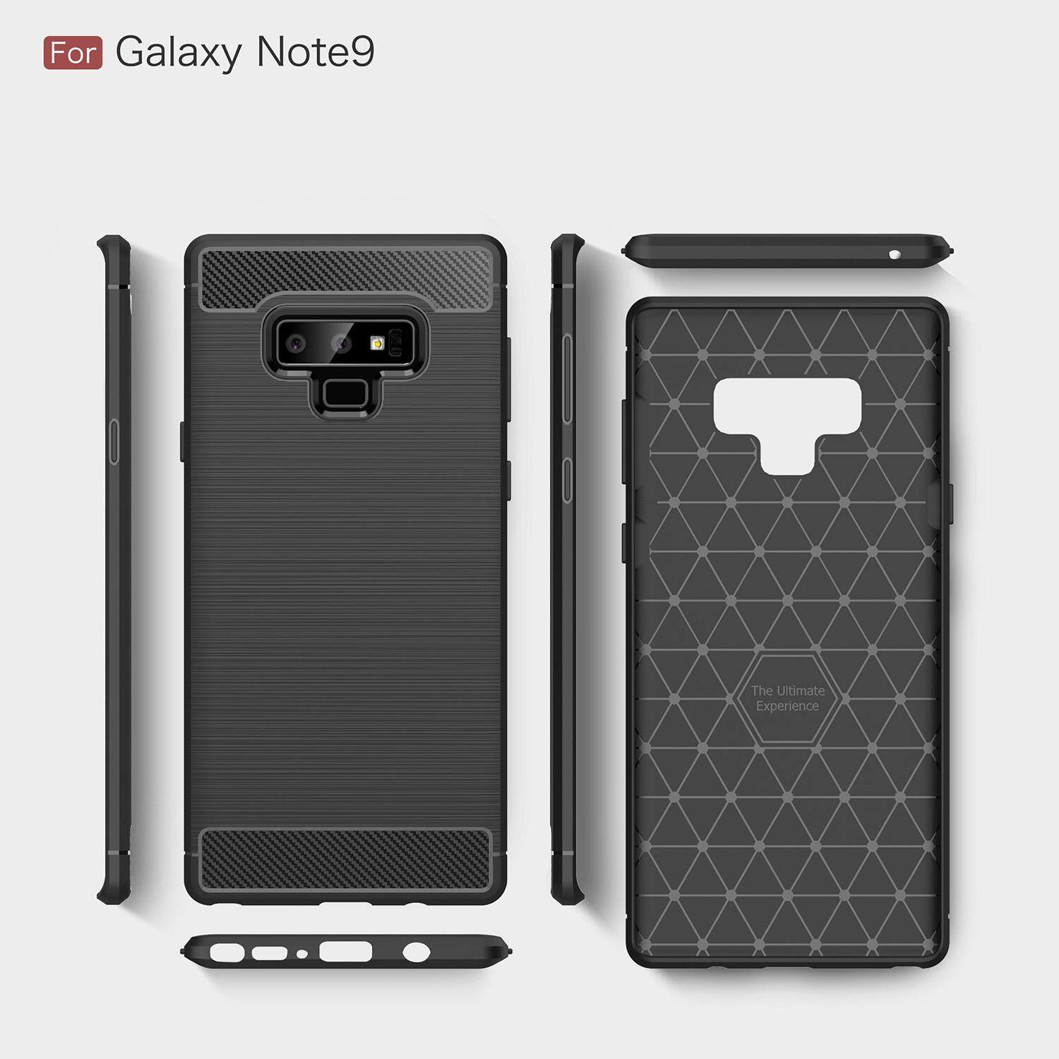 For Samsung Galaxy Note 9 Rugged Armor Shockproof Case Carbon Fiber Cover