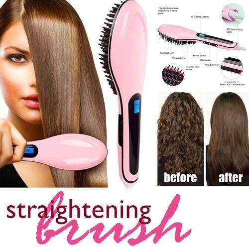 Premium Professional Automatic Electric Fast Hair Straightener Comb Irons Brush With LCD Digital Display Hair Massager