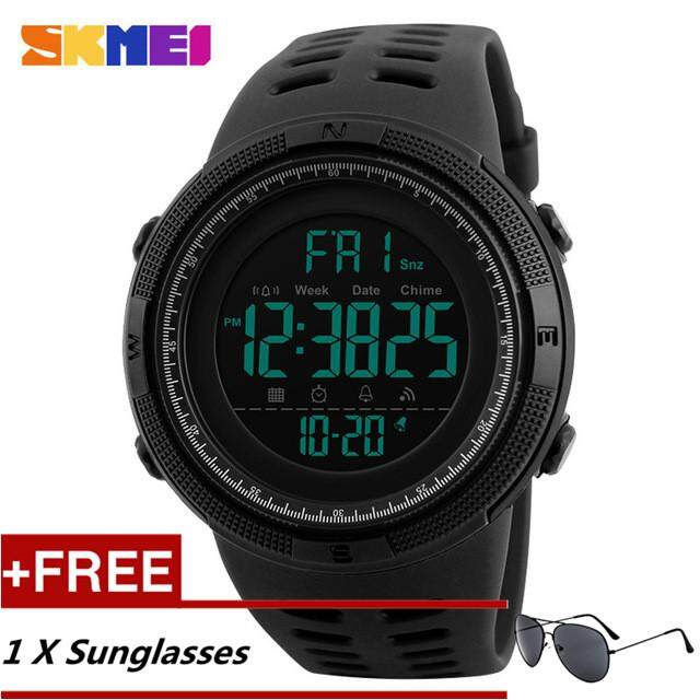 NanXiangZi SKMEI 1251 Men Sports Watches 50M Waterproof Watches Countdown Double Time Watch Alarm Chrono Digital WristWatches + Free a Sunglasses Malaysia