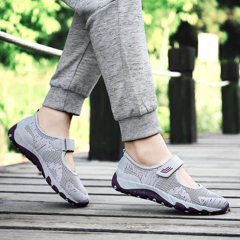 Outlet Tren Tengah Usia dan Wanita Tua Sepatu Jalan Ventilasi Nyaman Kasual  Olahraga Sneakers ee915932d1