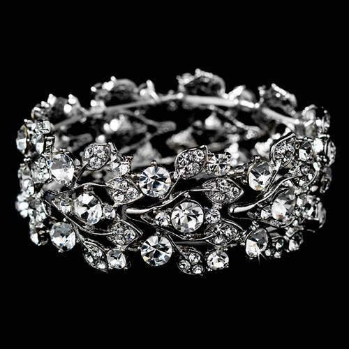 Bridal Jewelry Crystal Rhinestone Floral Leaf Vine Stretch Bracelet Silver Clear