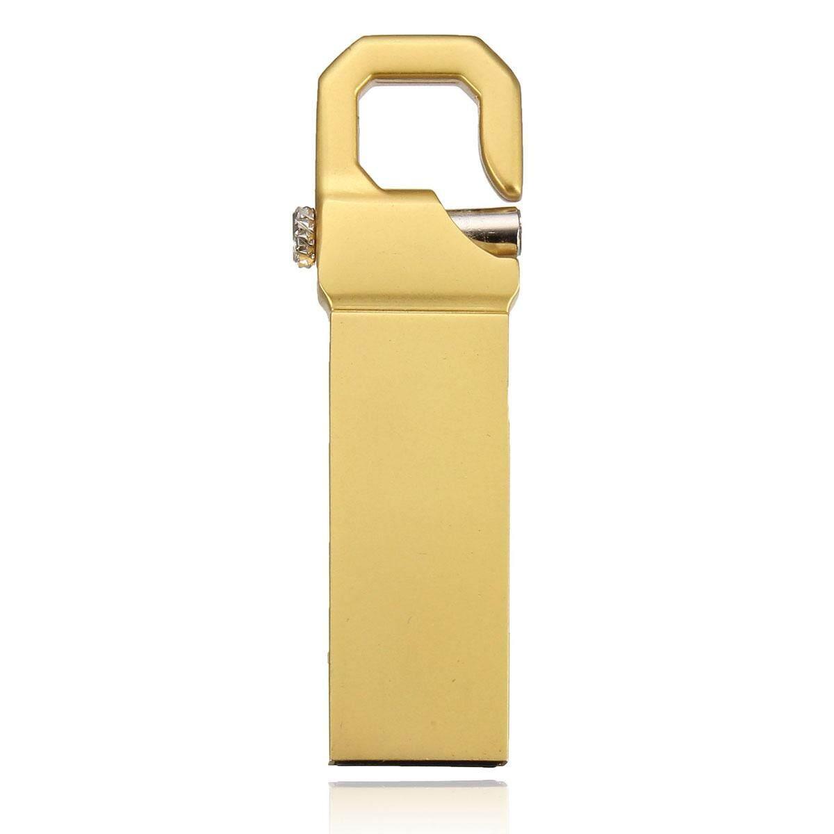 16 GB 16G USB2.0 Gantungan Kunci Logam Flash Penyimpanan Flashdisk Jempol Emas