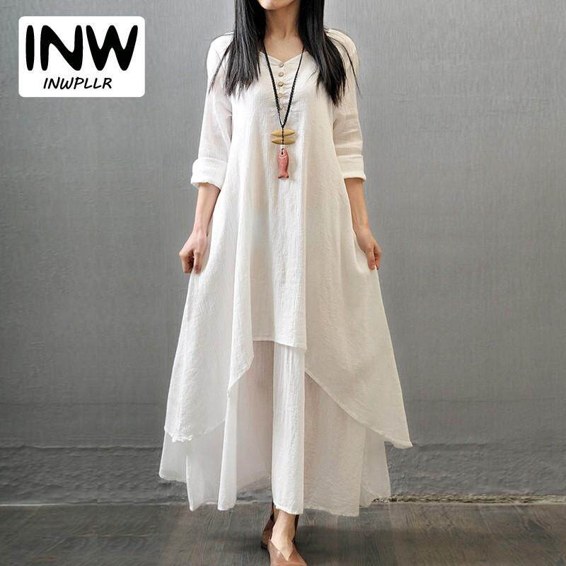 c8c6ece1c88 INWPLLR Korean Style Long Dress Women Casual Solid Cotton Linen Dresses  Women s Fashion Plus Size Dresses