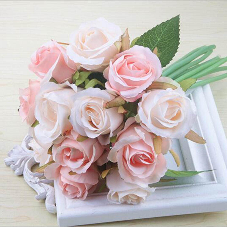 12pcs/lots Artificial Rose Flowers Wedding bouquet Thai Royal Rose Silk flowers Home Decoration Wedding