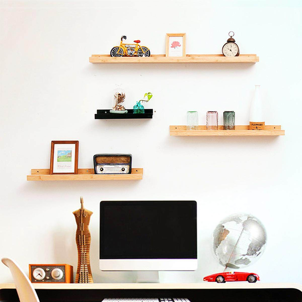 Vintage Retro Bamboo Wooden Wall Floating Shelf Storage Shelving Home Decor[65*12*5cm]