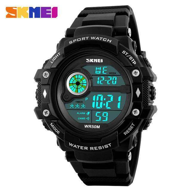SKMEI 1280 Pria Olahraga Jam Tangan Bercahaya Kedap Air Digital Jam Tangan Tanggal-Intl