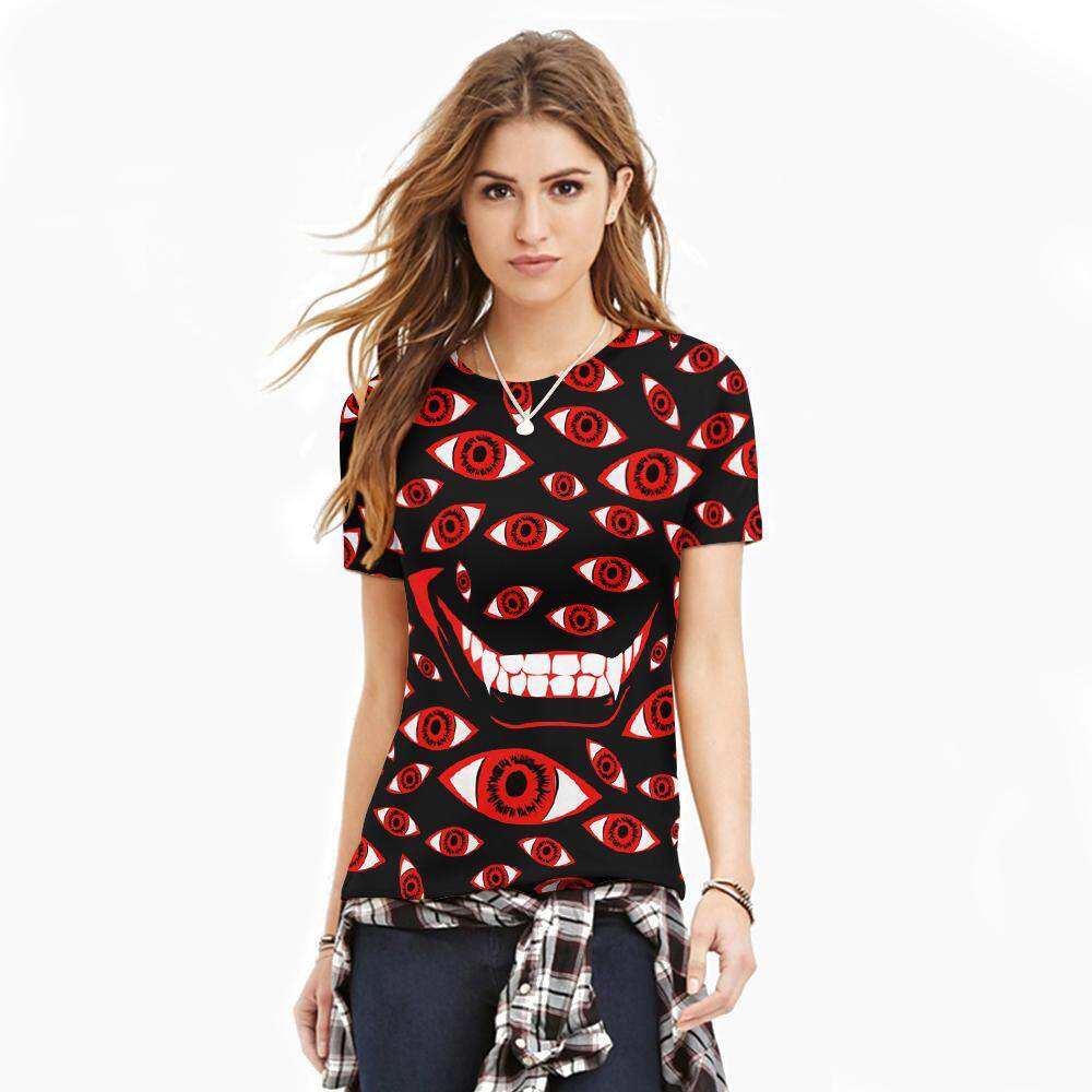 c98e2206c827 The Red Eyes Creepy Smile 3D Printed T shirts Women Casual Women Men Tee  Shirts