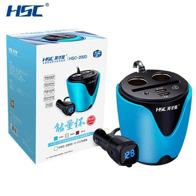 HSC YC-19D 3.1A 2 USB Car Cup Holder Car Cigarette Lighter Socket Adapter 80W Car Charger Voltage Current Display Quick Charger