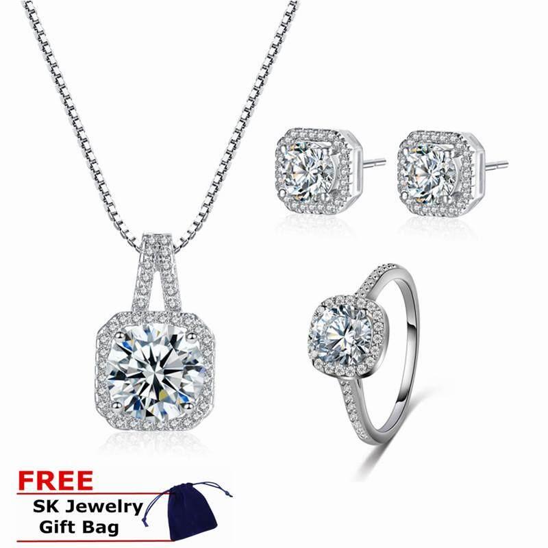 2f1284642 ❤SKute Jewelry 4PCS Diamond Jewelry Set Square Rhinestone Sterling Silver  Style Earrings Fadeless Ring Wedding