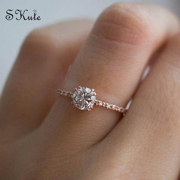 ❤skute Jewelry Simple Cute White Diamond Rings Rose Gold Plated Women Wedding Party Engagement Jewellery By Skute Official Store.