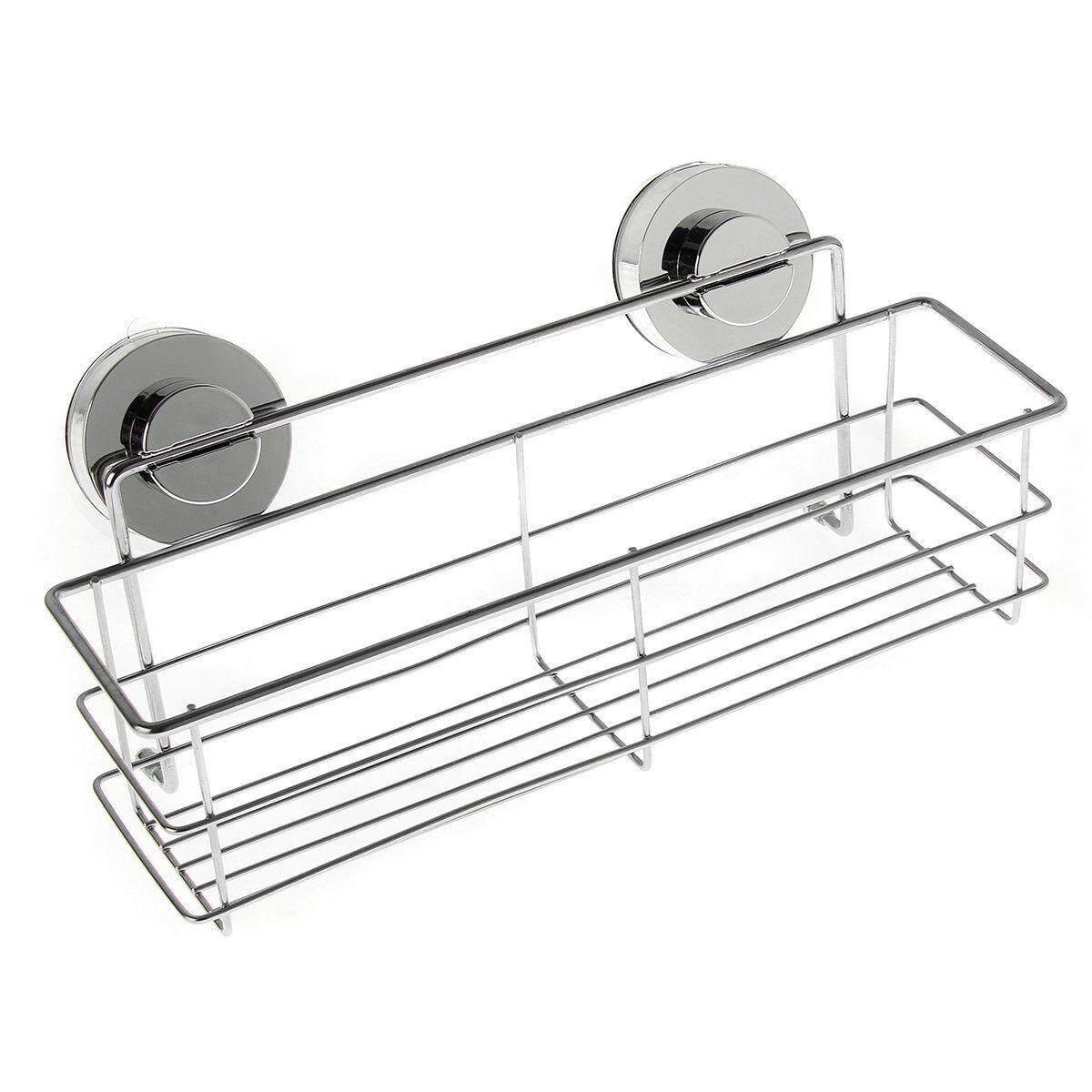 Stainless Steel Kitchen Bathroom Shower Storage Basket Caddy Shelf Suction Cup By Moonbeam
