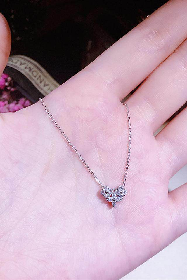 【Silver】S925 sterling silver mini membuka cinta kalung perempuan bertatahkan mikro berlian jantung klavikula