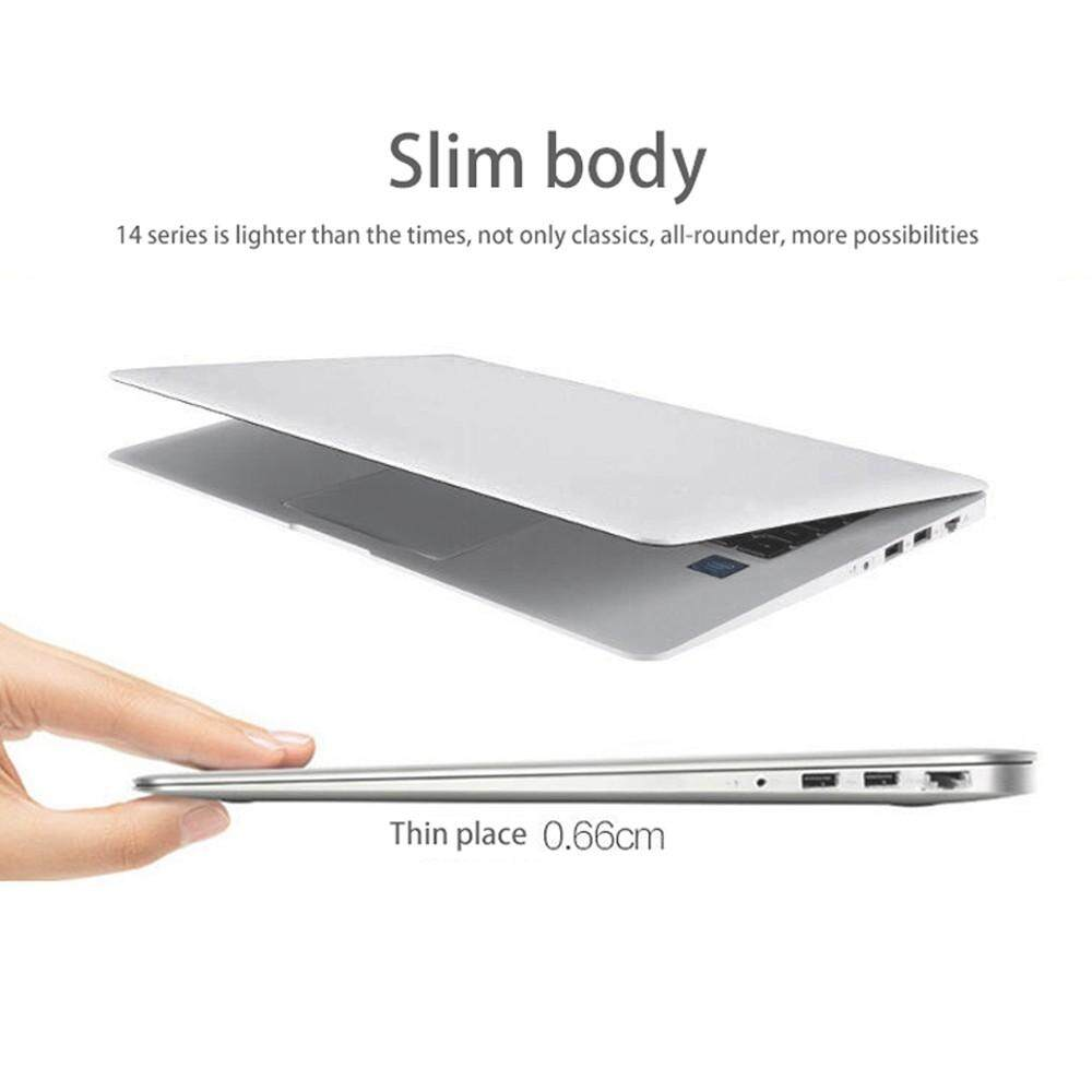 14.1 Ultraslim Quad Core 6G 64GB Laptops Windows 10 HD 1920x1080 9000mAh Portable Laptop White