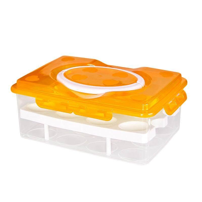 Telur Segar Menjaga Penyimpanan Ganda Portabel-Lapisan 24 Grid Anti-tabrakan Kotak Jeruk-