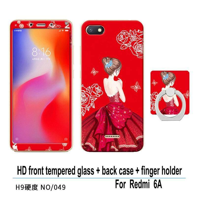 Multicolor case Xiao mi Redmi 6A Hongmi 6 A Luxury 3D Painting Front glass film +
