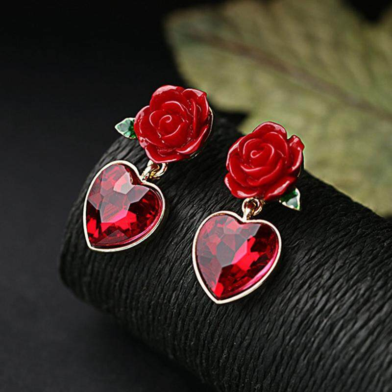LRC Anting Retro Red Tassel Decorated Simple Long Chain Earrings. Source ... BZY New Design Style Alloy Personality Red Flower Heart Shaped Gem Pendant Stud .