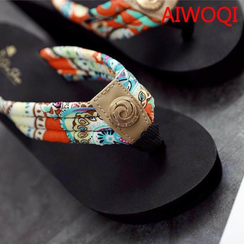 1a7c64859 AIWOQI 2018 Women Sandals Summer Slippers Shoes Croc Fashion Beach Sandals  Casual Flat Slip On Flip