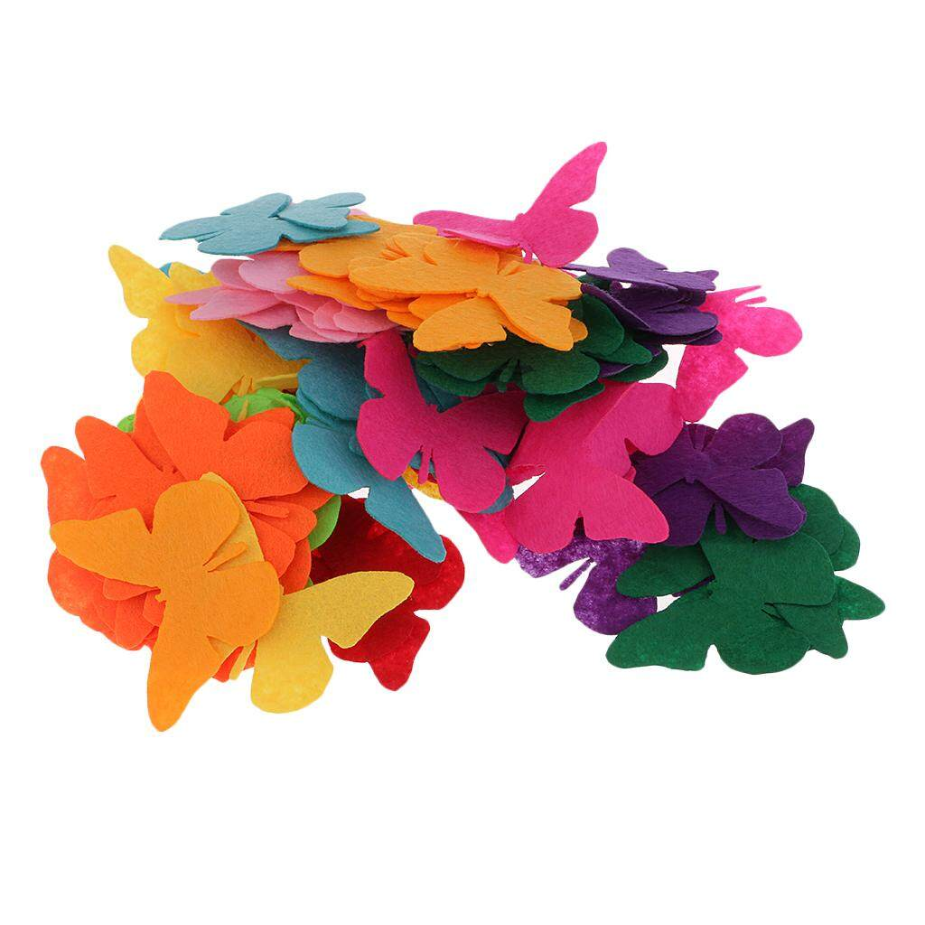 Bolehdeals 100pcs Butterfly Shape Non-Woven Fabric Pieces For Scrapbooking Embellishment Party Decoration By Bolehdeals.