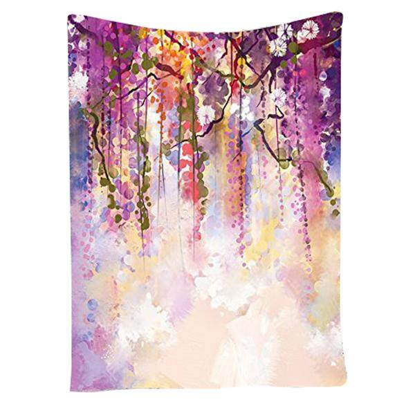 Watercolor Flower Decor Collection, Spring Flowers Wisteria Bokeh Background Painting, Bedroom Living Kids Girls Boys Room Dorm Accessories Wall Hanging Tapestry Purple
