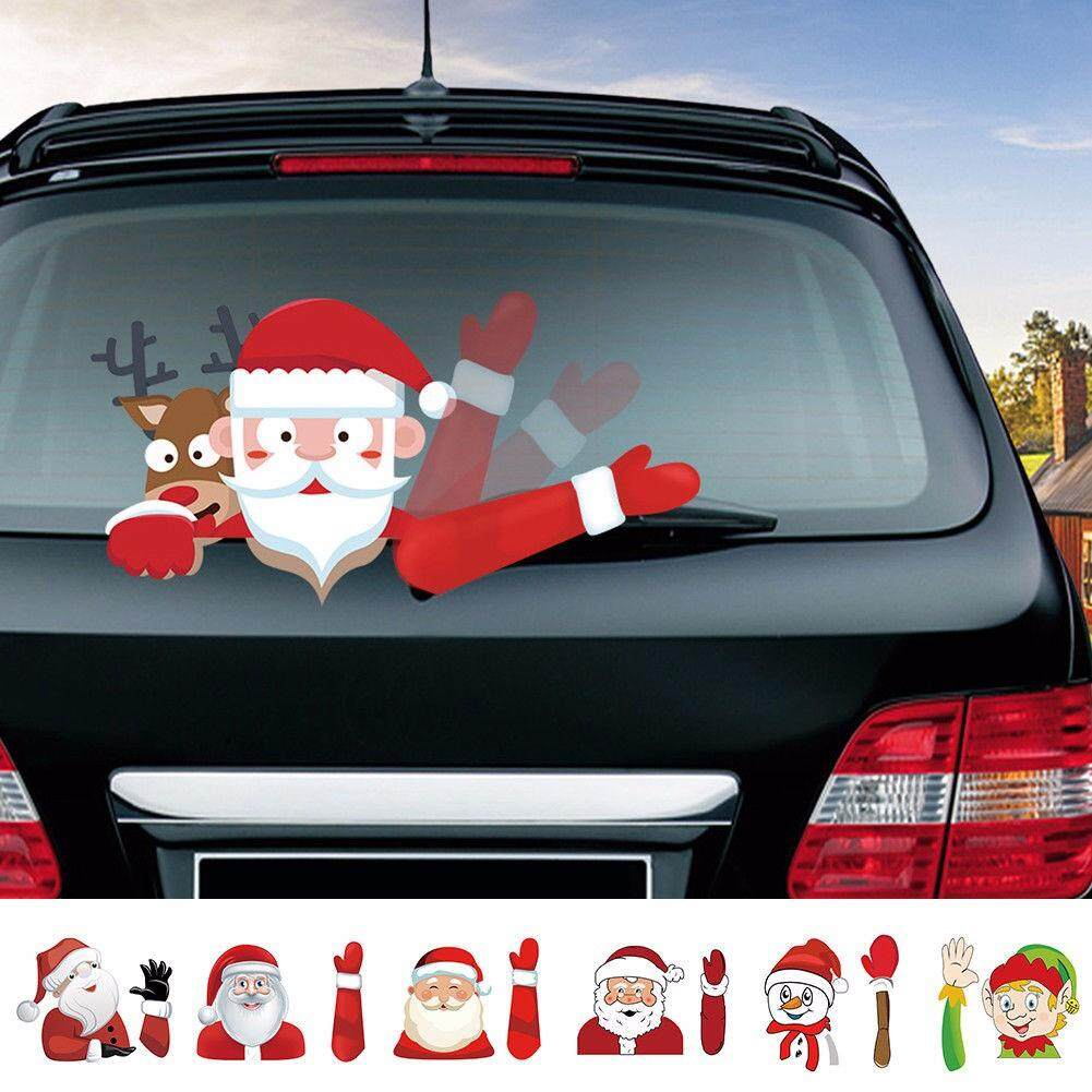 Sway Random Color Christmas Windshield Sticker Santa Claus Cute Window Decals Car Wiper Sticker By S_way.