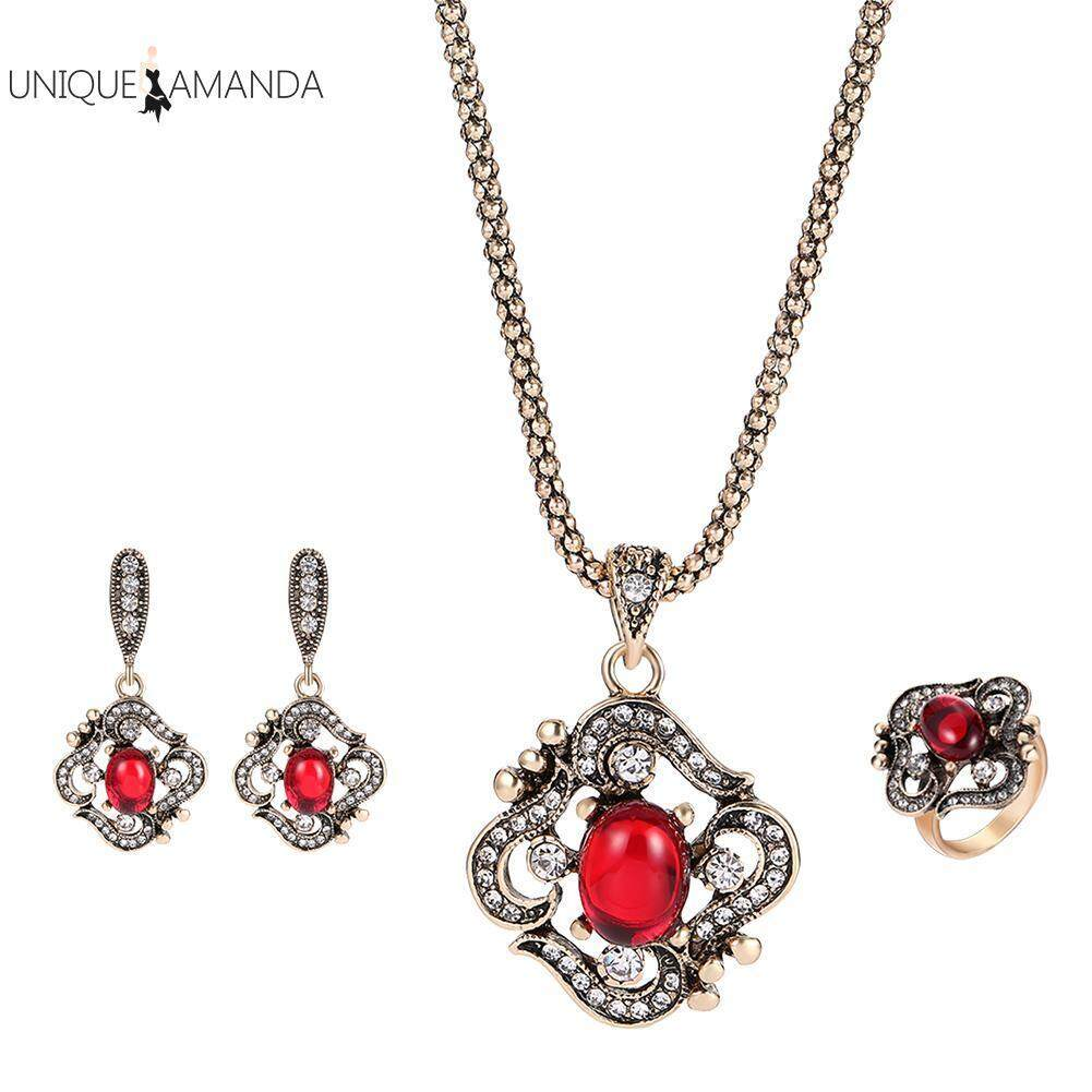 Women Vintage 3pcs Jewelry Sets Red Gem Rhinestones Necklace Ring Earrings By Unique Amanda.