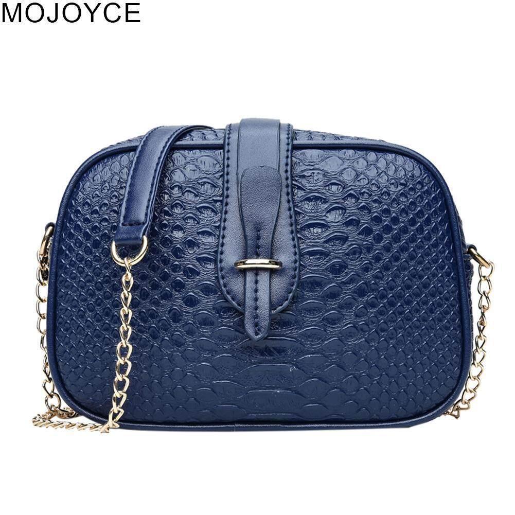 MOJOYCE Crocodile Pattern PU Leather Shoulder Bag Women Casual Chain Messenger  Bag 9364f0ac47