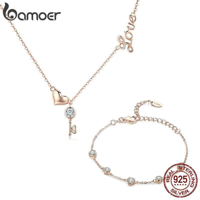 f77709cb0 BAMOER Free Shpping October 925 Sterling Silver Key Lock of Love Gold Color  Necklaces Bracelets Jewelry