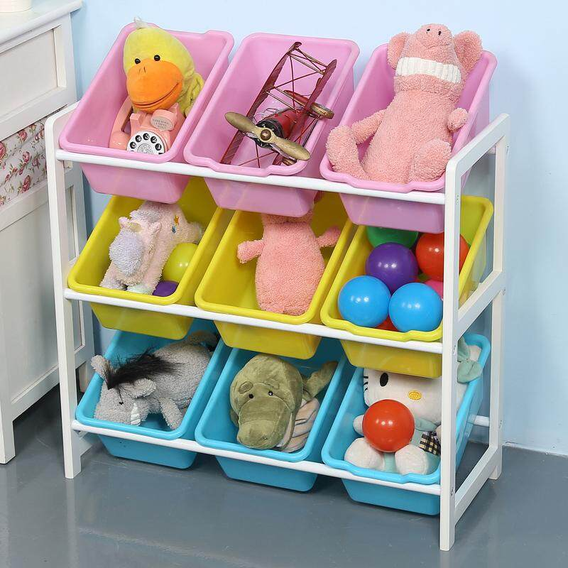 RuYiYu - 64 X 28 X 60cm, Kids Toy Organizer and Storage Bins, 9-Bins in Fun Colors, Toy Storage Rack, Natural/Primary