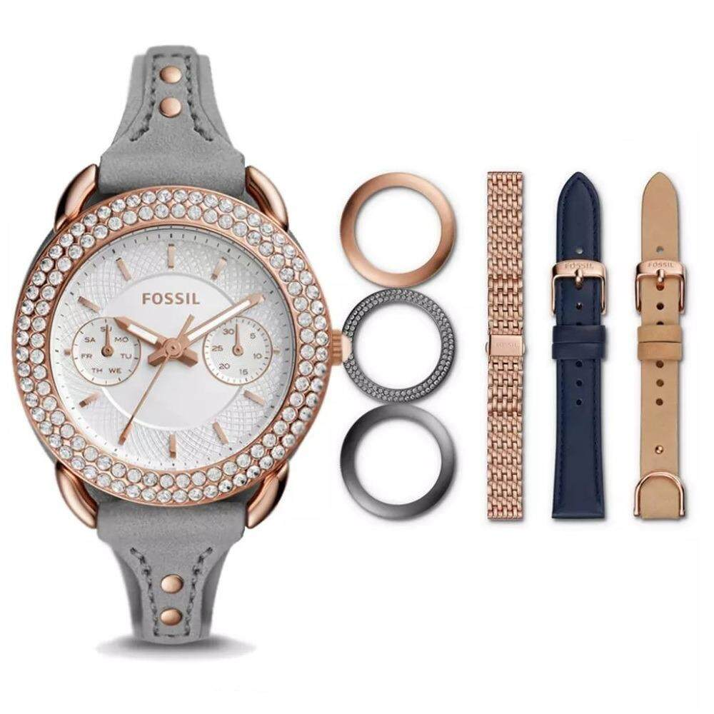 Fossil Womens Tailor Es4051 Jam Tangan Wanita Daftar Harga Terbaru Original Indigo Dyed Leather Es4056set Multifunction And Stainless Steel Box Set Multi Colour