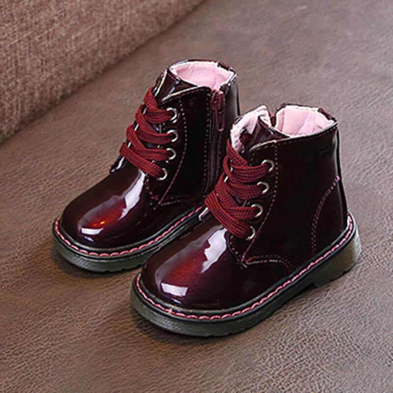 Giá bán ❤️Cutiebaby Trẻ Bé Gái Tập Đi Cho Bé Giả Da cột dây Khóa Kéo Tuyết Mắt Cá Chân Giày Boots Mùa Đông