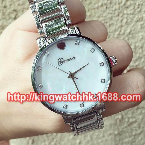 Ebay terbaik menjual geneva menonton paduan Geneva wajah menonton berlian perempuan mens watch