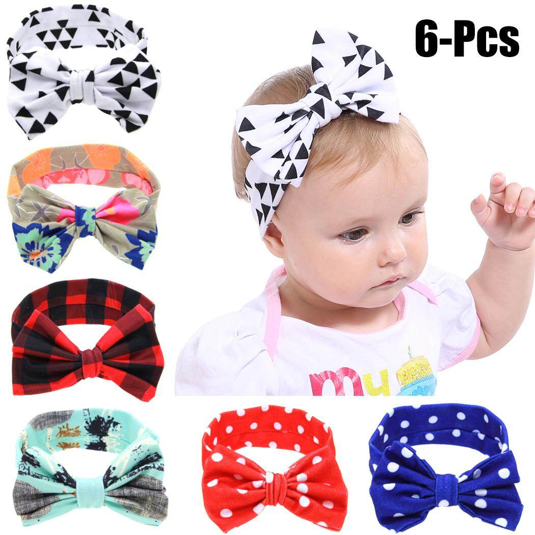 f06420995 6PCS Baby's Hairband Bowknot Spotted Plaid Baby Headband Infant Headwrap  for Baby Girl Toddler