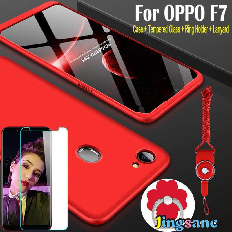Untuk OPPO F7 [Casing Ponsel + Dudukan Cincin + Kaca Antigores + Lanyard] Luxury 360 Gelar Penuh Me