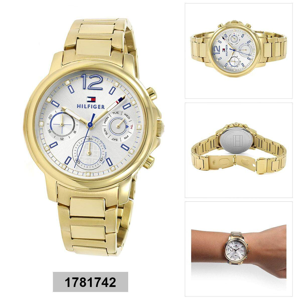 b2544bf8 Tommy Hilfiger Claudia Multi-Function Gold Stainless-Steel Case Stainless- Steel Bracelet Ladies