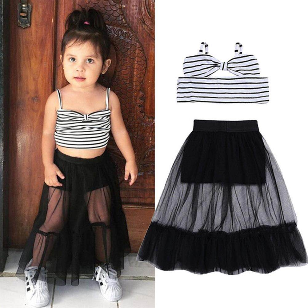 0470828e7 Newborn Kids Baby Girl Stripes Sleeveless Crop Tops Shorts Skirt Outfits  Clothes