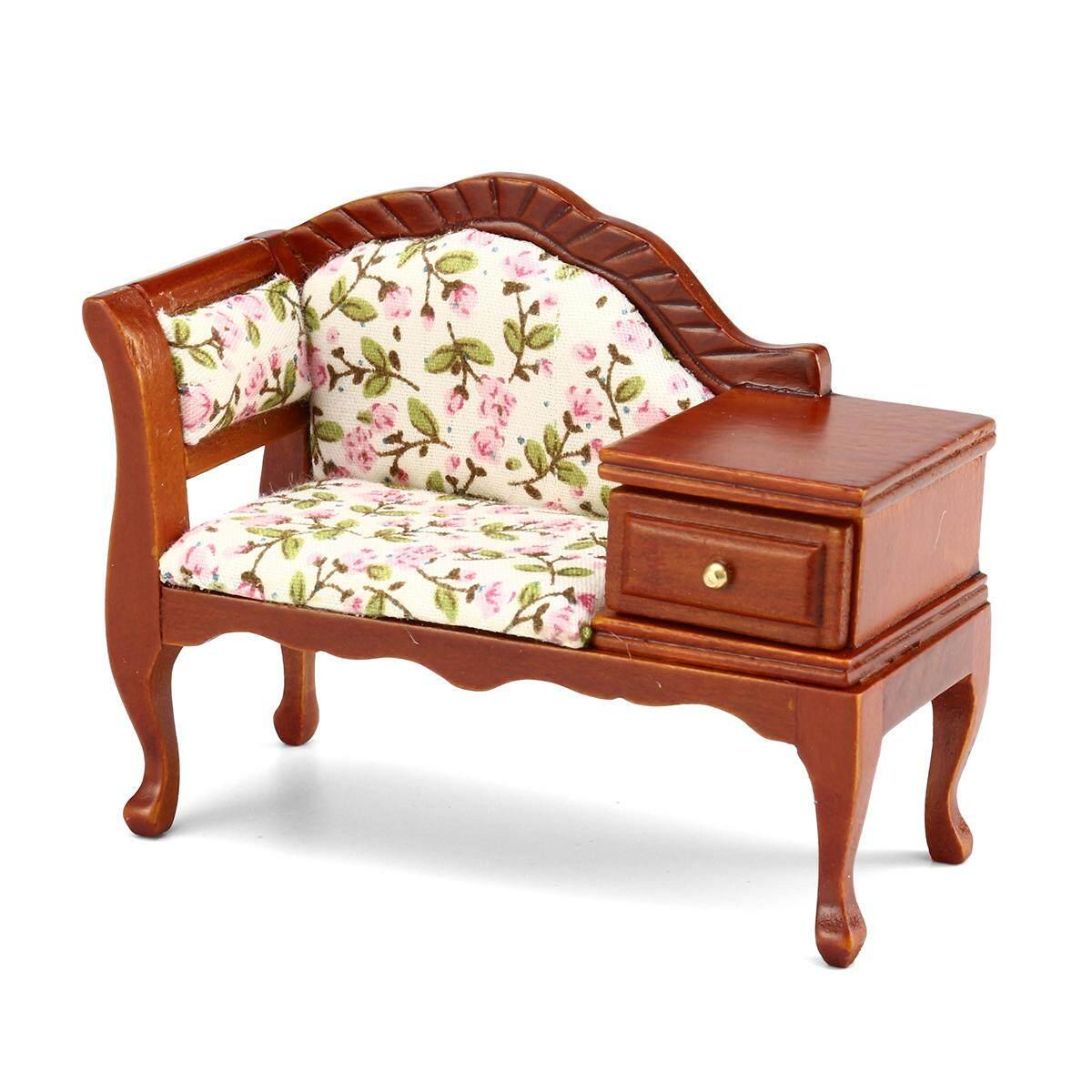 1:12 Sofa Kayu untuk Rumah Boneka Mini Ature Kamar Tidur Furniture Mini Ruang Tamu-Internasional