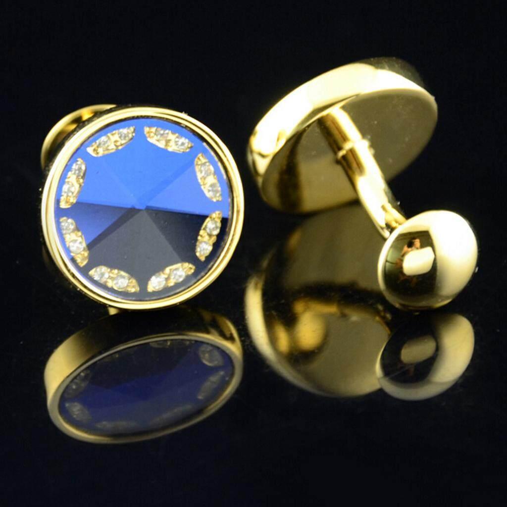Bolehdeals 1 Pair Mens Shirt Cufflinks Wedding Gift Party Business Suit Round French Button Blue Gold By Bolehdeals.