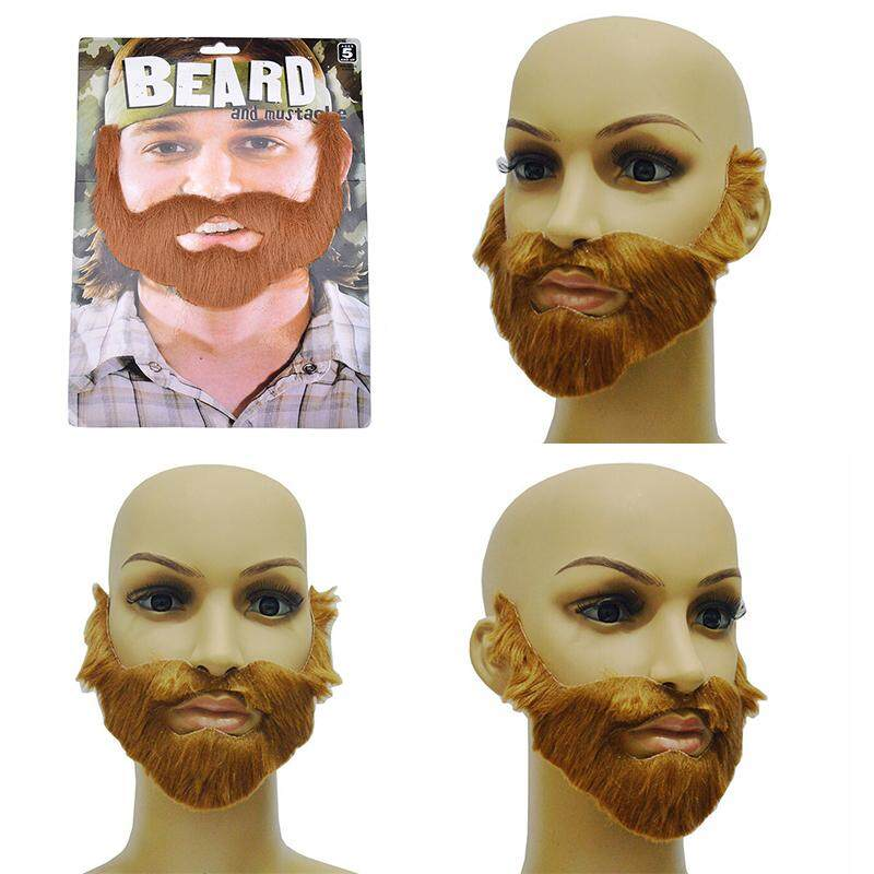 Veli shy Cosplay Costume Party Male Man Halloween Beard Facial Hair Disguise Game Brown Mustache - intl
