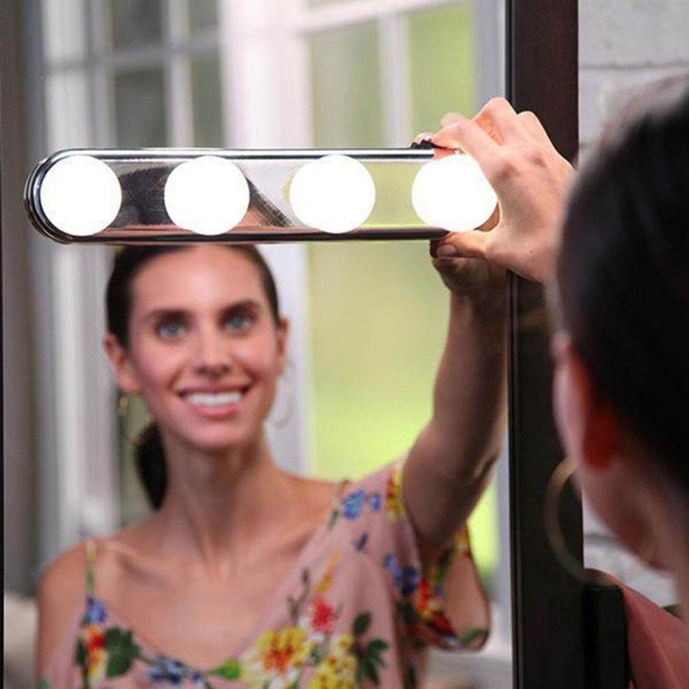 niceEshop 4 LED Mirror Light, Portable Vanity Lights Lighted Travel Makeup Mirror Makeup Light
