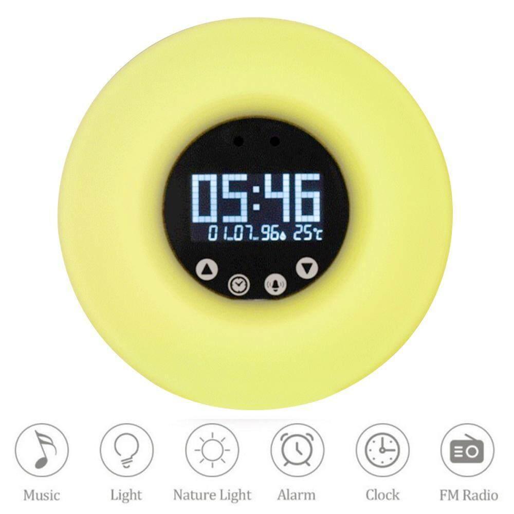 shangqing Sunrise Alarm Clock,Sunrise Simulator Wake Up Light, Snooze Function Sunlight Alarm Clock With LED Multi-Colorful Night Light FM Radio ,UK Plug - intl