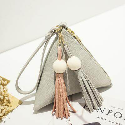 [PRE-ORDER] Women Cute Triangle Pouch Clutch With Tassel Handbag