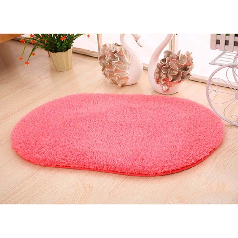 Wuli Karpet Oval Karpet Bulu Kamar Tidur Pintu Karpet Lantai Tikar Berbulu Halus .