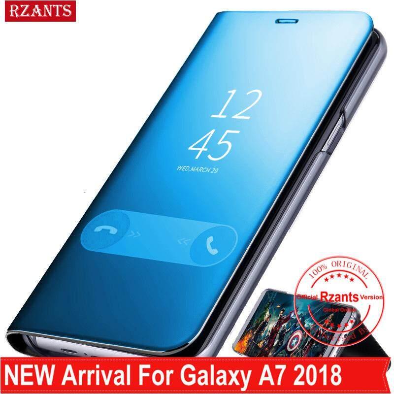 Rzants untuk Samsung Galaxy A7 2018 A750 Case Casing Mewah Slim【mirror】intelligent Berdiri Ponsel Putar Kulit Casing