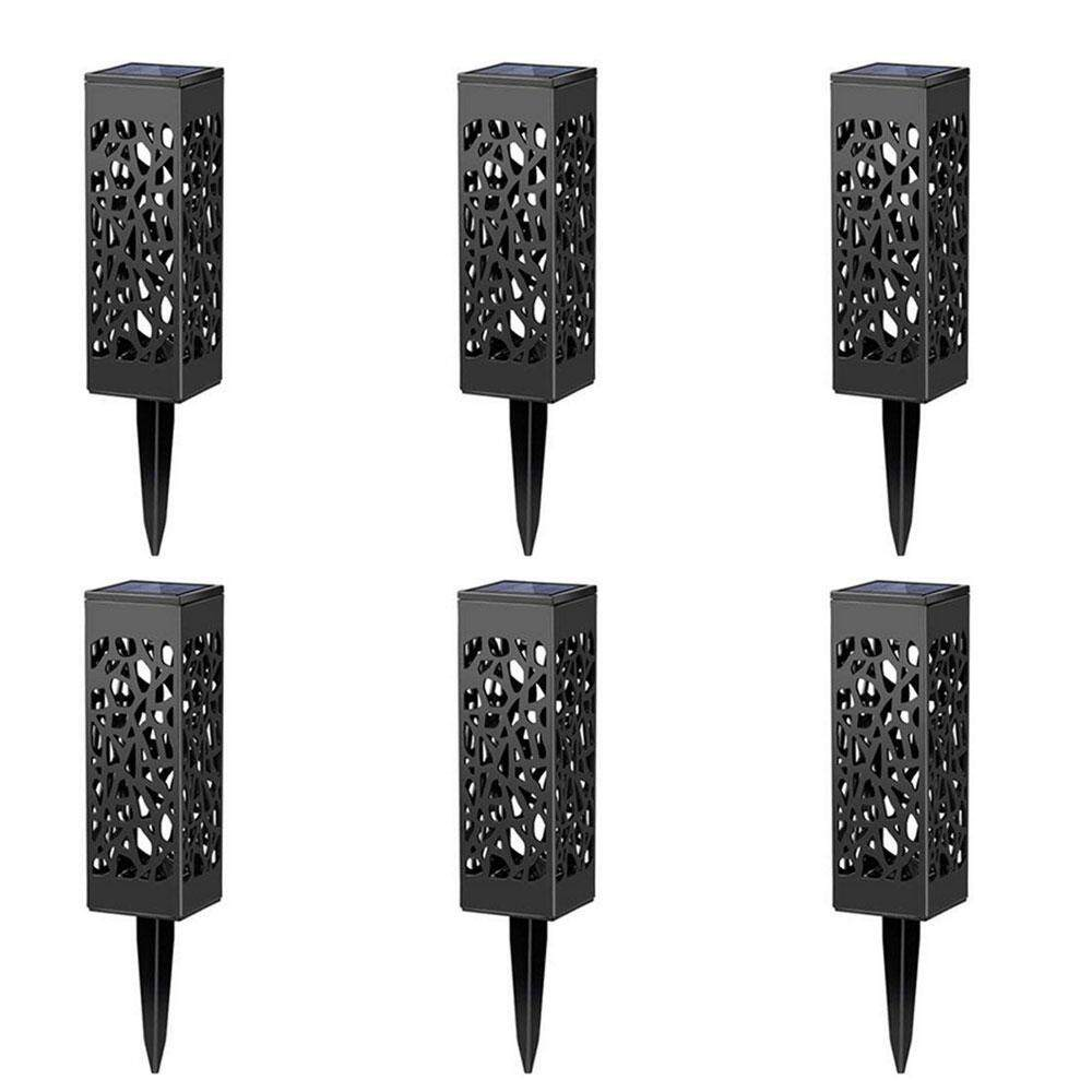 Aolvo 6 Pack Hollow Garden Lawn Solar Lights, Lawn Outdoor Solar Street Lights Waterproof