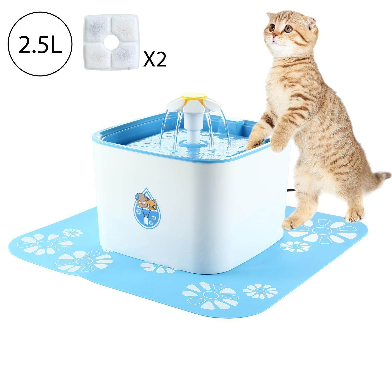 Womdee 2l Pet Water Fountain, Cat Water Fountain, Pet Drinking Fountain For Cats And Dogs(uk Plug) - Intl By Womdee.